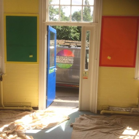 Painting a classroom at Coldfall Primary School, Muswell Hill, London