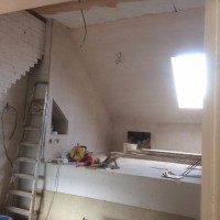 Internal work on a loft conversion including: plaster boarding, plastering, carpentry, painting & MDF inbuilt cupboards - North London