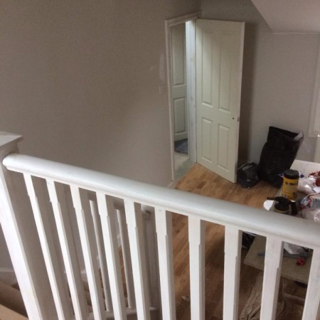 North London loft conversion including: plaster boarding, plastering, carpentry, painting & MDF inbuilt cupboards -