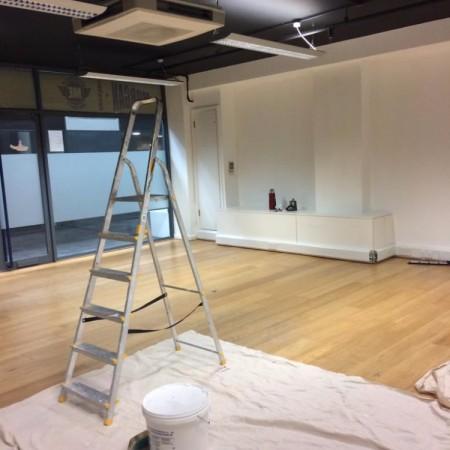 Painting shop unit in the British Design Centre in Islington